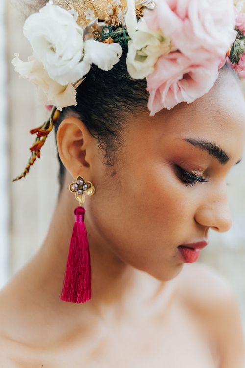Hot pink tassel earrings for stylish bride