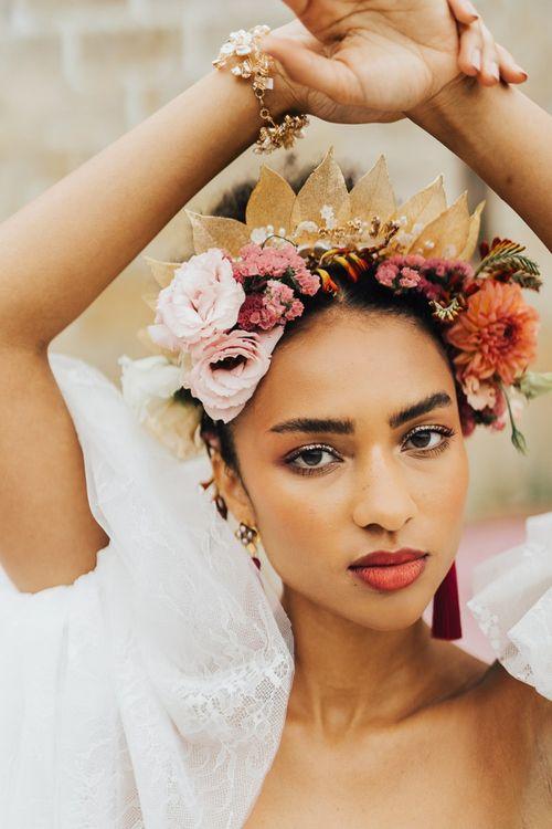 bridal makeup and floral crown