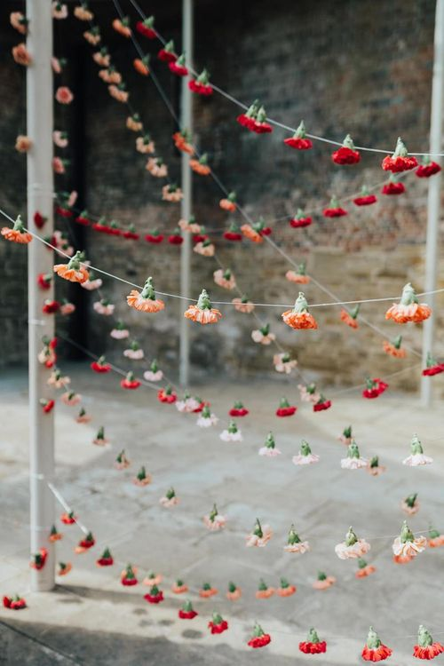 Hanging carnation heads at Chiddingstone Castle