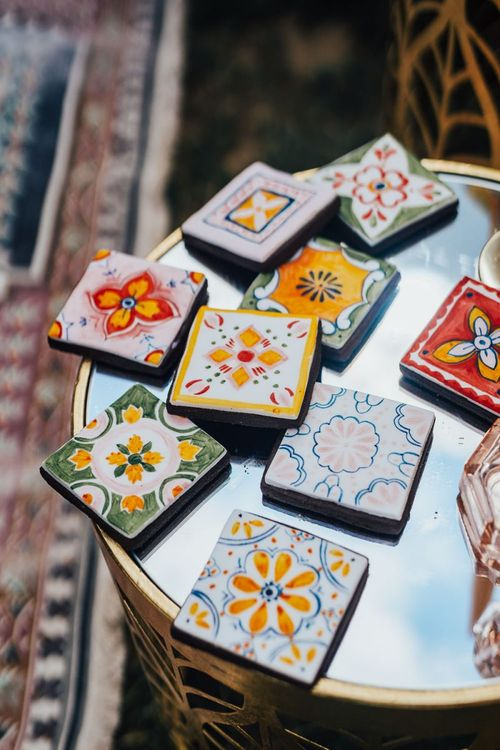 colourful tile biscuits