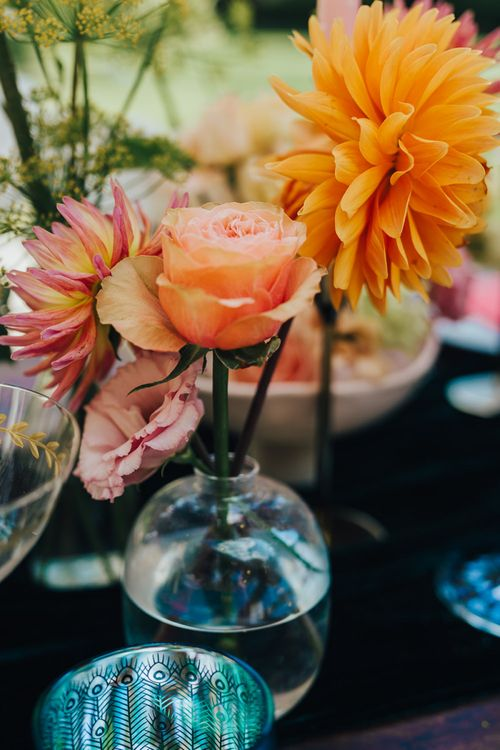 Orange flower heads in a vase