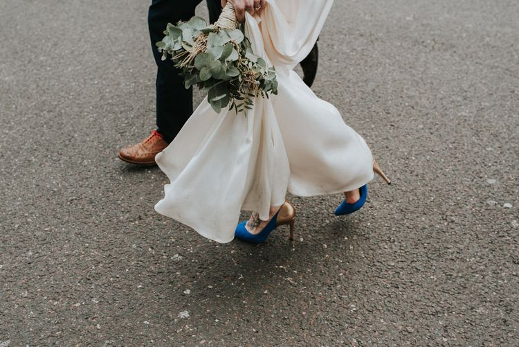 Blue and Copper Ted Baker Wedding Shoes | London Wedding With Succulent Bouquet At The Refinery With Bride In Catherine Deane And Images From Fern Edwards Photography