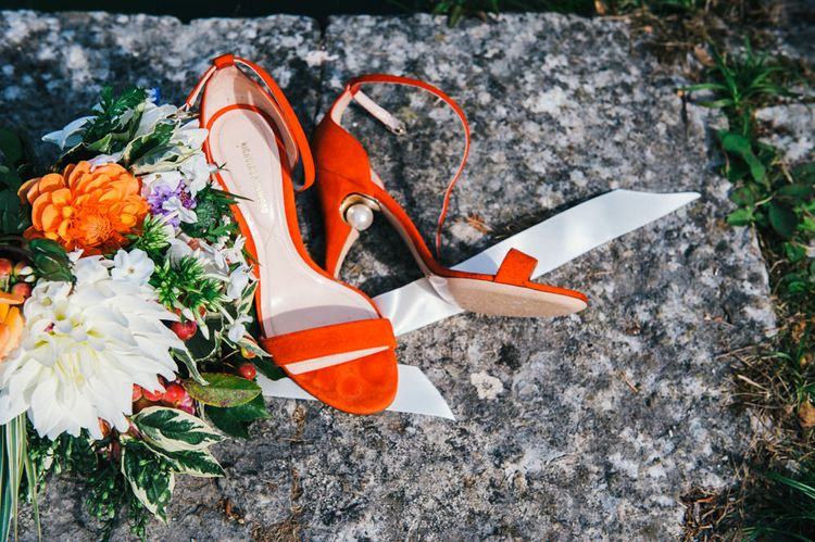 Bright Red Nicholas Kirkwood Shoes with Pearl in Heel | Colourful Pennard House Wedding With Bride Wearing Racerback Dress | Allison Dewey Photography
