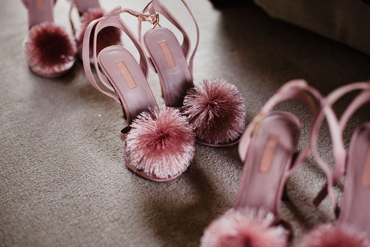 Pink Pompom Topshop Shoes | Colourful Wedding Shoes | Dewsall Court Wedding With Bride In Fishtail Gown 'Adele' By Augusta Jones With Images From Chris Barber Photography And Film From Blooming Lovely Films