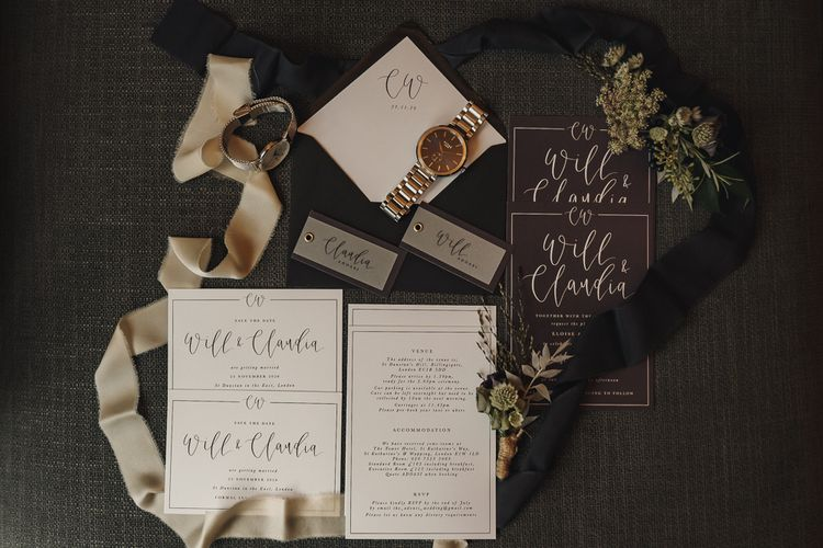 Black and white wedding stationery suit with Vitae watches and ribbon