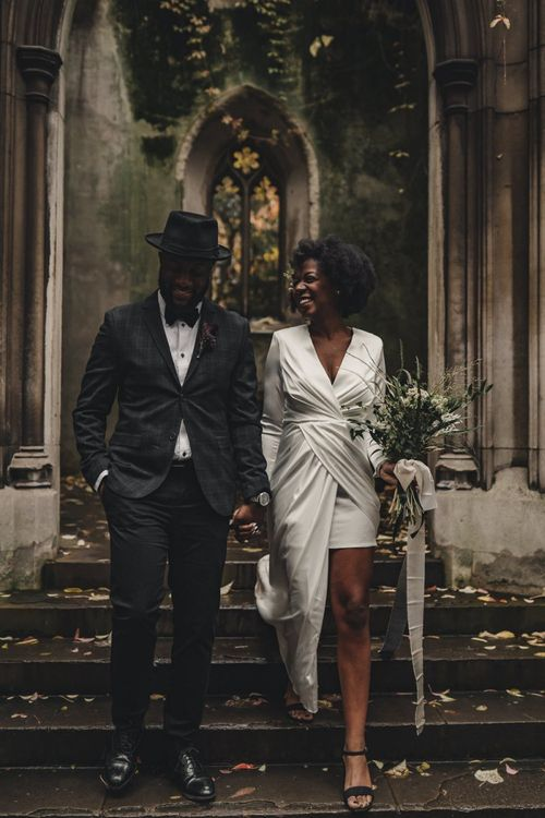 Black bride and groom portraits at St Dunstan in the East