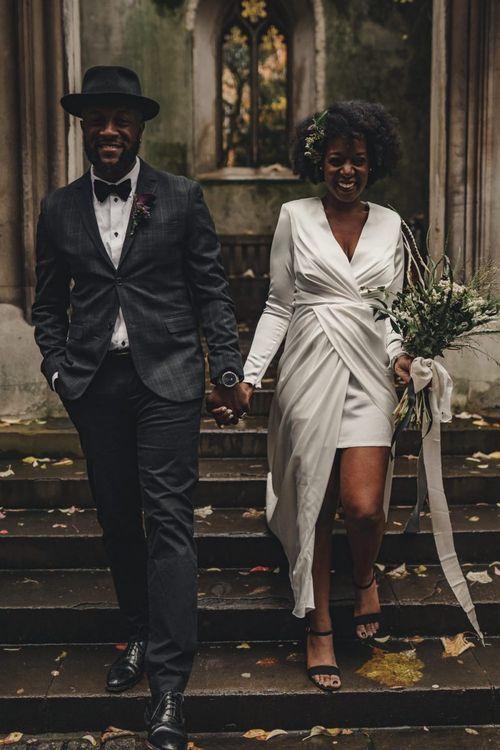 Stylish bride and groom at alternative London wedding