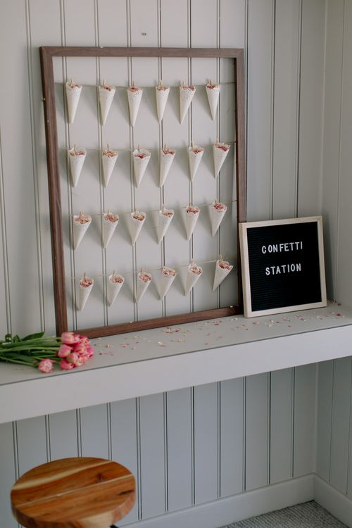DIY confetti station and peg board | Confetti Cone Station Tutorial