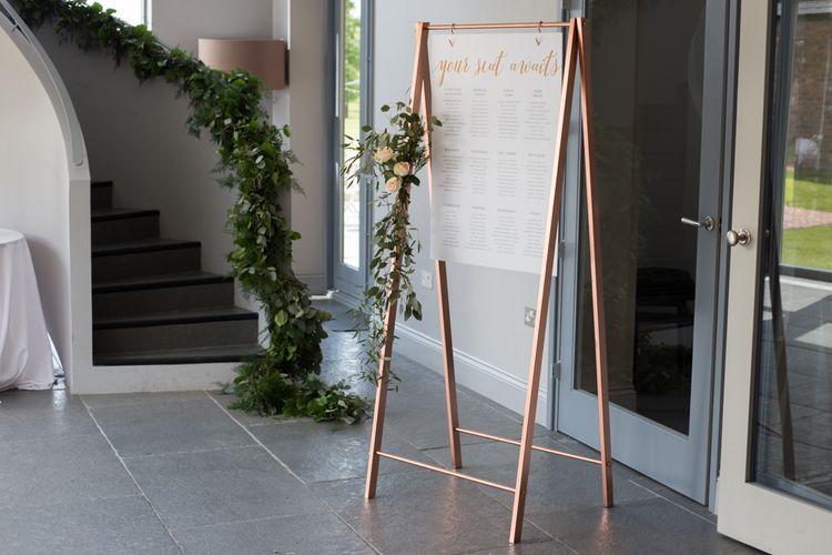 Copper Foil Calligraphy Wedding Table Plan On Copper Frame // Rose Paper Scissors