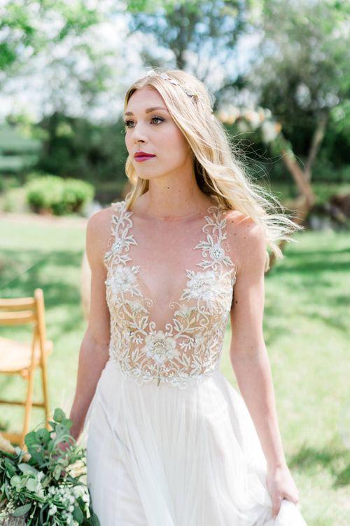 Bride in Watters Wedding Dress with Beaded Bodice
