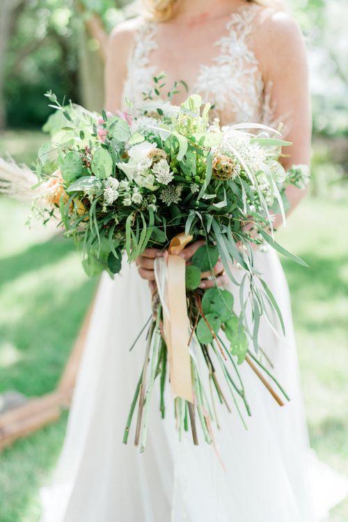 Oversized Foliage Wedding Bouquet with Ribbon