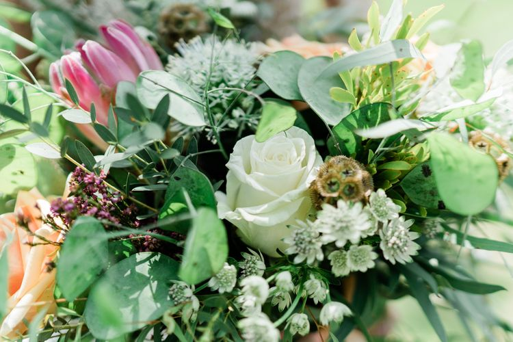 Foliage Wedding Flowers with Roses and King Proteas