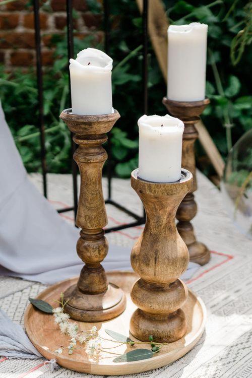 Wooden Church Candlesticks Wedding Decor