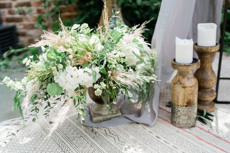 White and Green Floral Arrangement with Pampas Grass