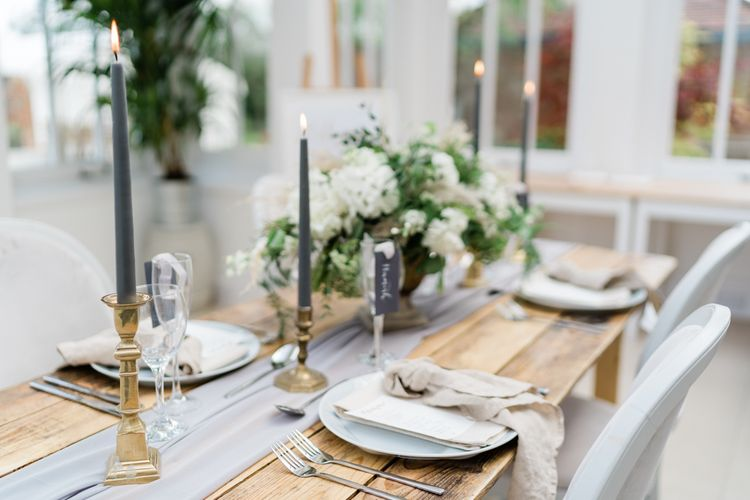 Gold Candlesticks and Charcoal Grey Taper Candles