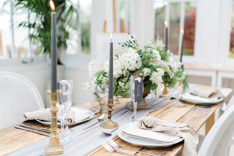 Stylish Tablescape Decor with Grey, Gold and White Details