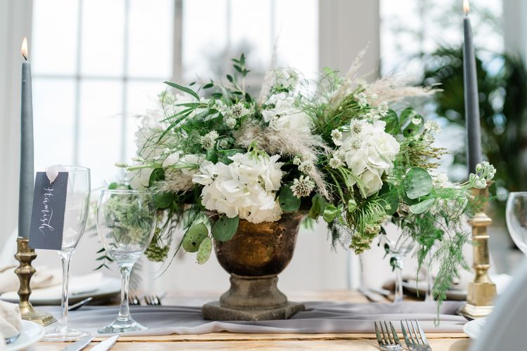 White Hydrangea Flowers with Foliage and Pampas Grass