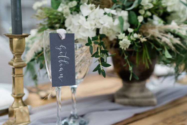 Grey Calligraphy Name Place Card with Ribbon