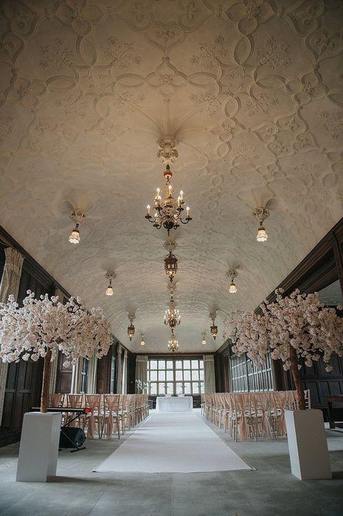 Blossom Trees for Wedding Ceremony At Fanhams Hall