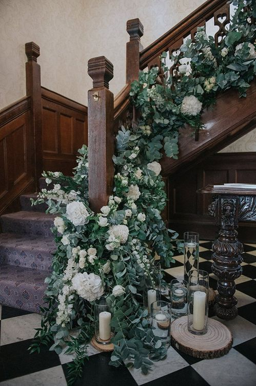 Stair Wedding Flowers with Candles and Foliage