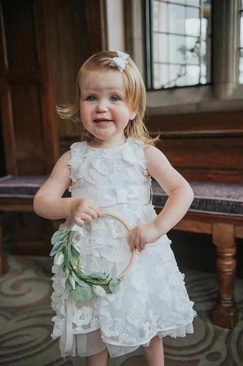 Flower Girl In White Dress With Hoop