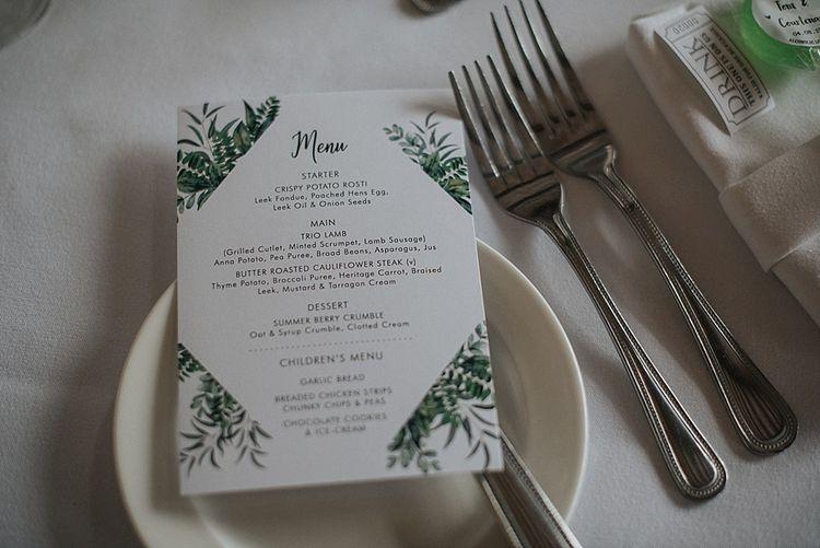 Wedding Stationery Foliage Detail Menu