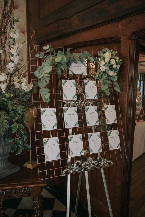 Wedding Table Plan on Copper Wire Frame with Foliage