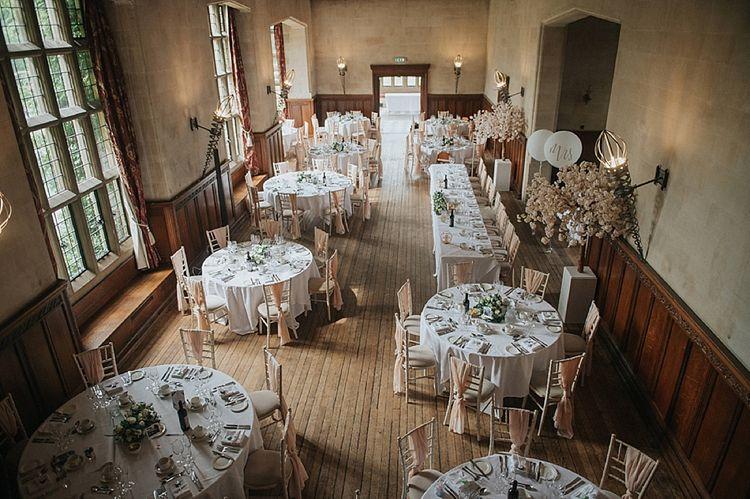 Fanhams Hall Wedding Venue Set Up For Reception