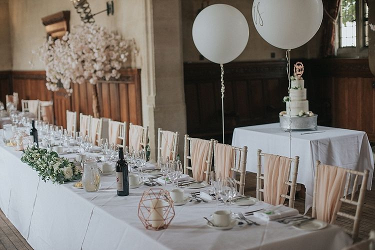 Top Table with Mr & Mrs Balloons Cherry Blossom and Wedding Cake