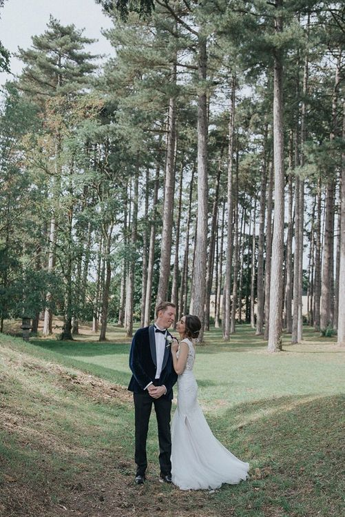 Bride and Groom In Tux With Velvet Jacket