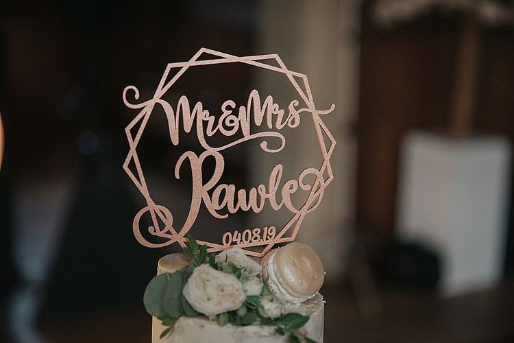 Mr and Mrs Wedding Cake Topper in Rose Gold