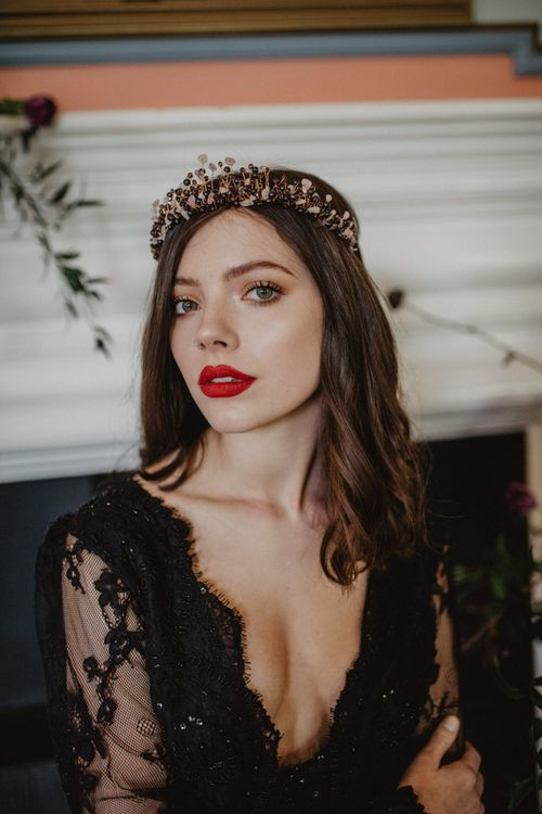 Bride with Bold Lip and Bridal Crown