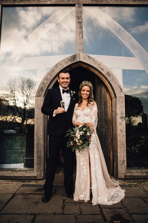 Black Tie Groom and Bride with Statement Crown
