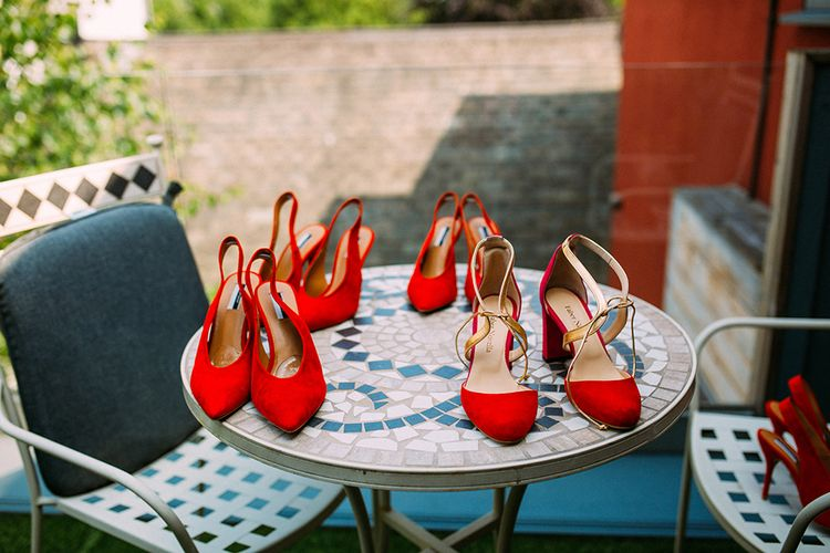 Red Suede Bridal Party Shoes | Contemporary Wedding at Industrial Venue 92 Burton Road, Sheffield | Maytree Photography