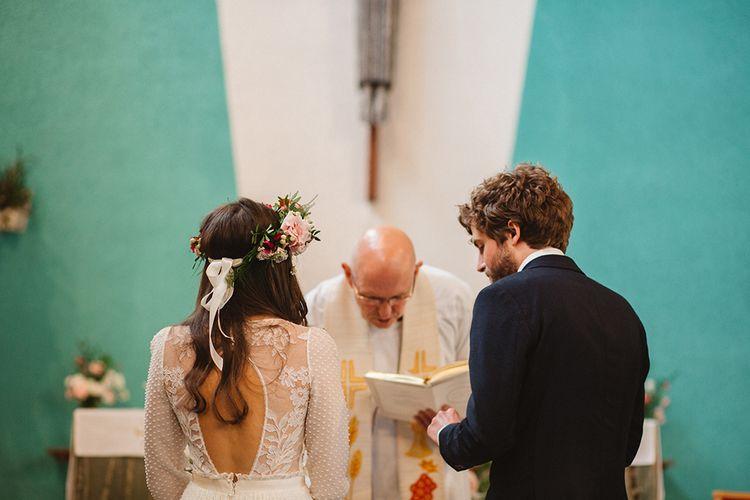 Church Wedding Ceremony | Boho Bride in Laure De Sagazan Baudelaire Bridal Gown | Groom in Navy Reiss Suit | Contemporary Wedding at Industrial Venue 92 Burton Road, Sheffield | Maytree Photography