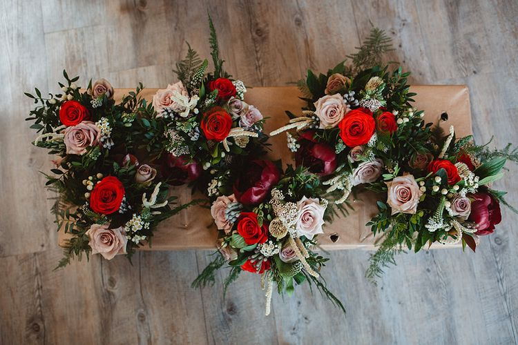 Burgundy, Red, Pink & White Rose Bridal Bouquets | Contemporary Wedding at Industrial Venue 92 Burton Road, Sheffield | Maytree Photography