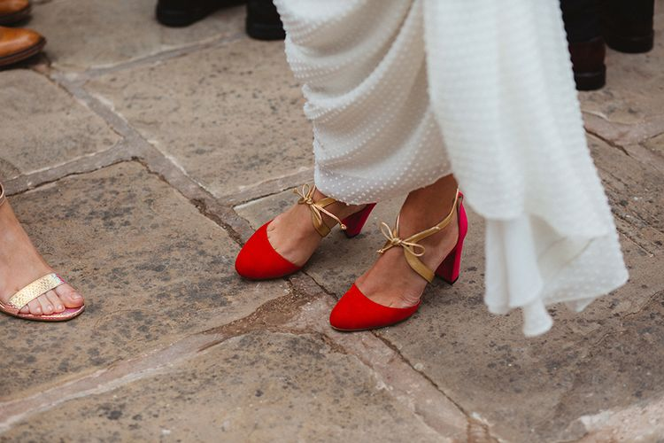 Red Suede Faber Novella Shoes | Contemporary Wedding at Industrial Venue 92 Burton Road, Sheffield | Maytree Photography