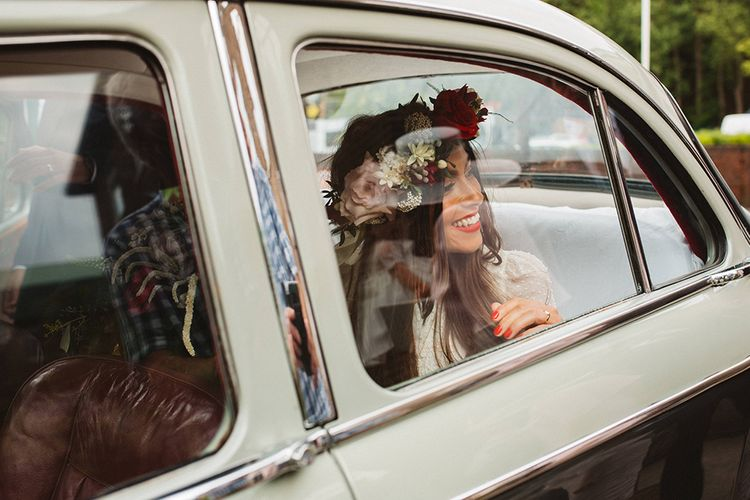 Boho Bride in Laure De Sagazan Baudelaire Bridal Gown | Contemporary Wedding at Industrial Venue 92 Burton Road, Sheffield | Maytree Photography