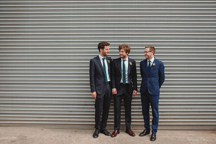 Groomsmen in Navy Reiss Suits | Contemporary Wedding at Industrial Venue 92 Burton Road, Sheffield | Maytree Photography