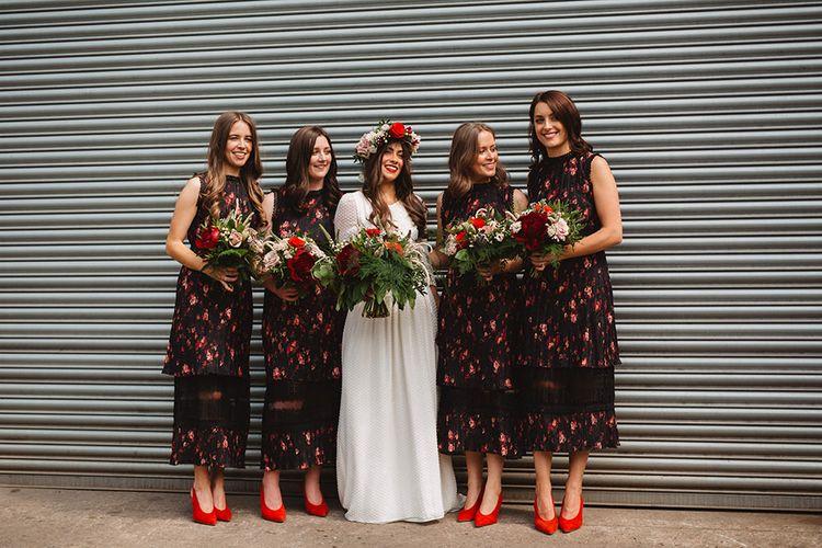 Bridal Party | Bridesmaids in Black & Red Floral Dresses | Boho Bride in Laure De Sagazan Baudelaire Bridal Gown | Contemporary Wedding at Industrial Venue 92 Burton Road, Sheffield | Maytree Photography