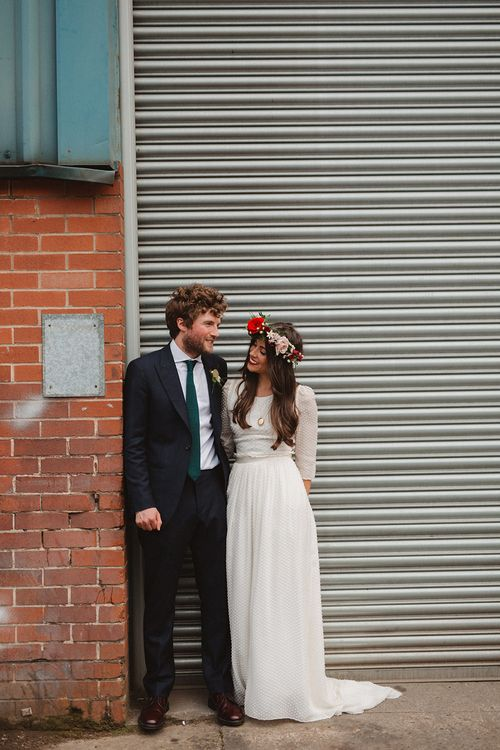 Boho Bride in Laure De Sagazan Baudelaire Bridal Gown | Groom in Navy Reiss Suit | Contemporary Wedding at Industrial Venue 92 Burton Road, Sheffield | Maytree Photography