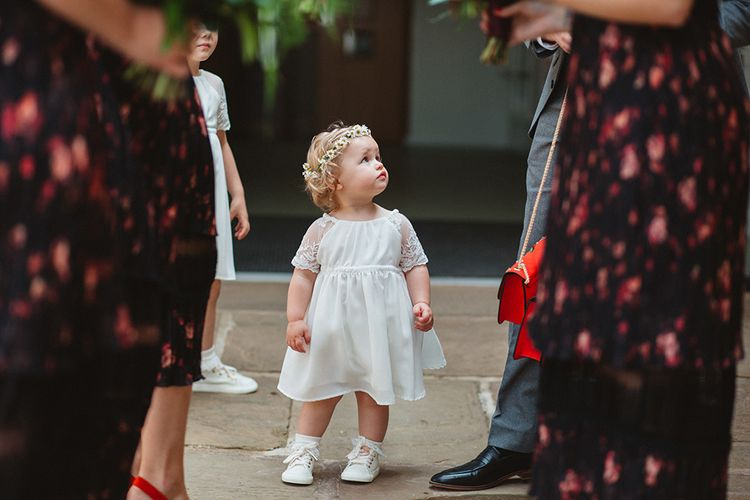 Cute Flower Girl in Daisy Flower Crown | Contemporary Wedding at Industrial Venue 92 Burton Road, Sheffield | Maytree Photography