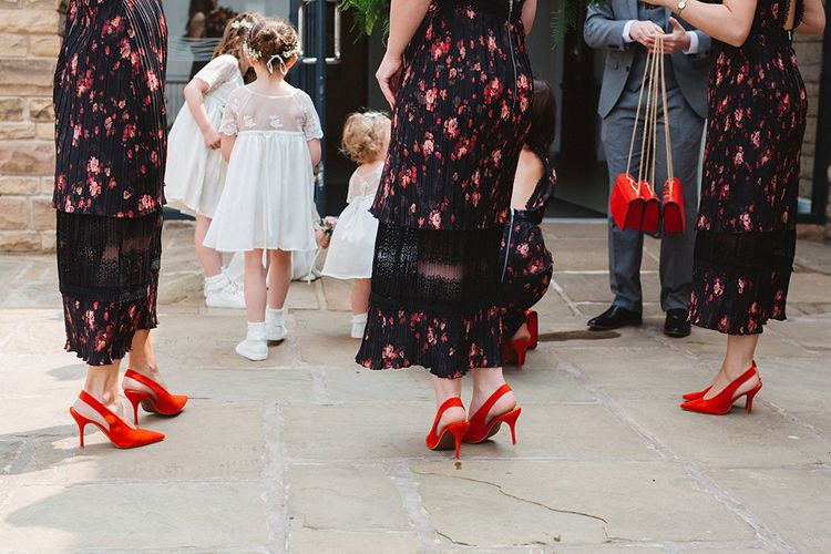 Floral Bridesmaid Dress & Red Sheos | Contemporary Wedding at Industrial Venue 92 Burton Road, Sheffield | Maytree Photography