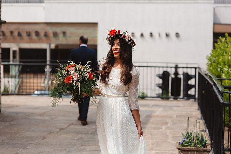 Boho Braid ein Laure De Sagazan Baudelaire Gown & Flower Crown | Contemporary Wedding at Industrial Venue 92 Burton Road, Sheffield | Maytree Photography