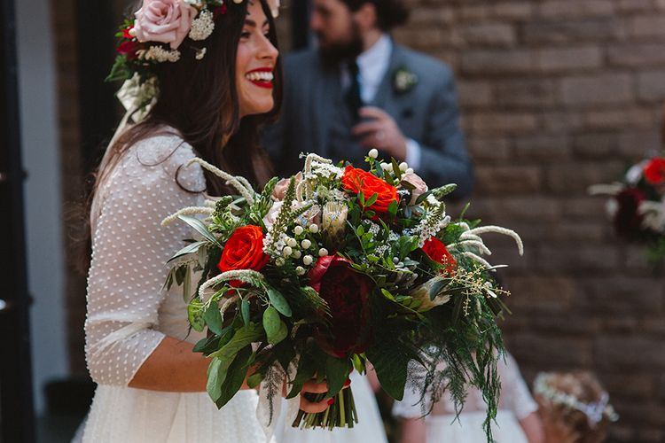 Red, White & Foliage Bridal Bouquet | Contemporary Wedding at Industrial Venue 92 Burton Road, Sheffield | Maytree Photography