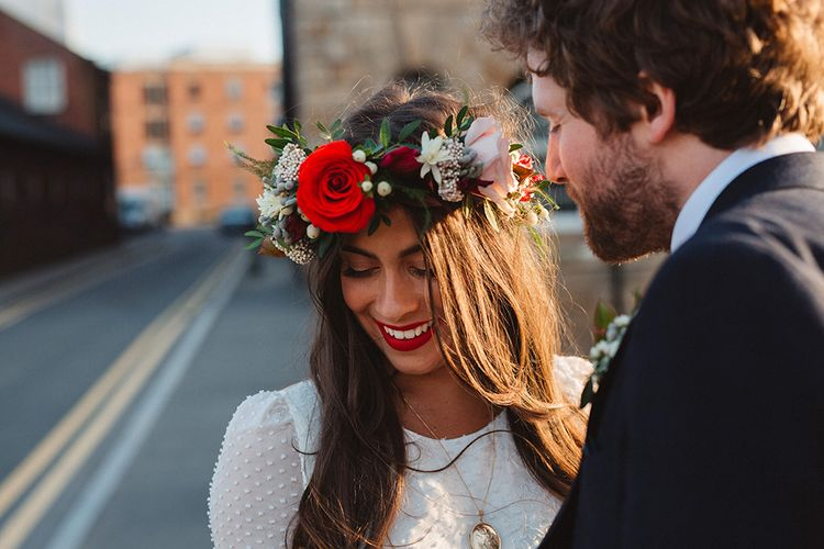 Boho Bride in Laure De Sagazan Baudelaire Bridal Gown and Flower Crown | Groom in Navy Reiss Suit | Contemporary Wedding at Industrial Venue 92 Burton Road, Sheffield | Maytree Photography