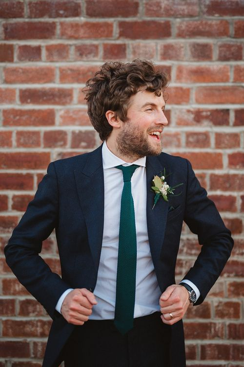 Groom in Navy Reiss Suit | Contemporary Wedding at Industrial Venue 92 Burton Road, Sheffield | Maytree Photography