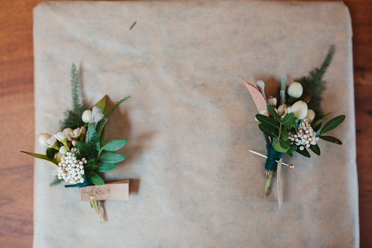 Buttonholes | Contemporary Wedding at Industrial Venue 92 Burton Road, Sheffield | Maytree Photography