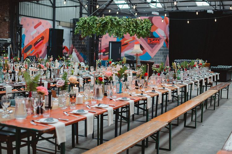 Colourful Trestle Table Reception Decor | Contemporary Wedding at Industrial Venue 92 Burton Road, Sheffield | Maytree Photography