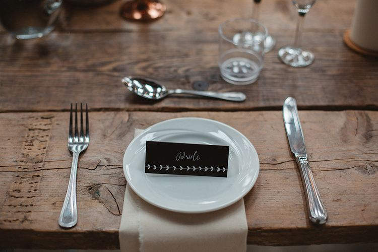 Name Place Setting Card | Contemporary Wedding at Industrial Venue 92 Burton Road, Sheffield | Maytree Photography